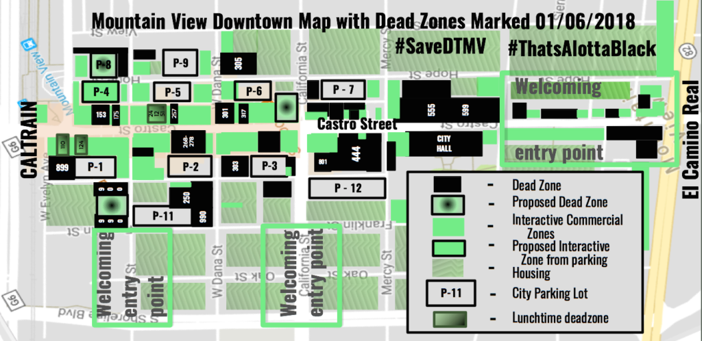 Deadzones in black: Mountain View's downtown